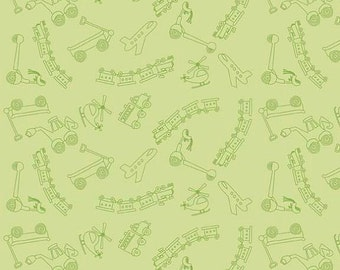 SUPER CLEARANCE! 1/2 Yard Riley Blake Scoot - Tiny Toys in Green Cotton Quilt Fabric - by Deena Rutter - Planes, Trains, Helicopters (W27)