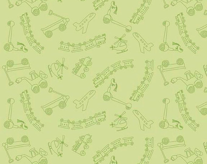 SUPER CLEARANCE! One Yard Riley Blake Scoot - Tiny Toys in Green Cotton Quilt Fabric - by Deena Rutter - Planes, Trains, Helicopters (W27)