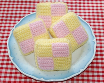 Crochet Pattern for Battenburg Slices / Cakes - Crocheted Play Food, Toy Food
