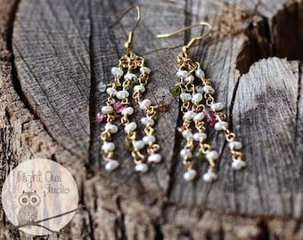 Tiny Pearl & Gemstone Earrings