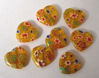 Yellow millefiori hearts, 10x 14mm millefiori glass heart beads, yellow multicoloured flower MBH036