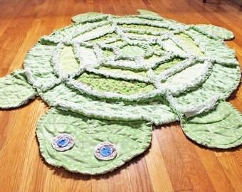 Handmade Quilt - Rag Quilt - Green Turtle Quilt