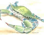 Chesapeake Bay Blue Crab signed & numbered watercolor print 8.5 x 11 inches