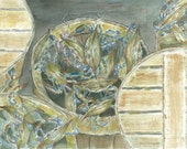 Chesapeake Bay Blue Crabs in Baskets signed & numbered watercolor print 11 x 17 inches