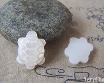 6 pcs of Natural Shell Turtle Cabochon No Hole 13x19mm A4603