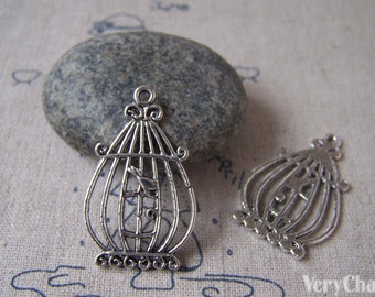 Bird Cage Charms Antique Silver Pendants 20x33mm Set of 10 A5312