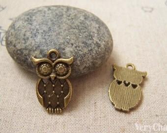 20 pcs of Antique Bronze Owl Charms Pendant 12x22mm A5218