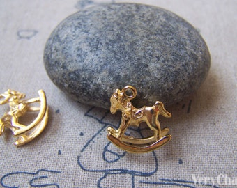 20 pcs of Gold Rocking Horse Charms 15x15mm A4824