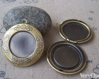 2 pcs of Antique Bronze Round Bezel Photo Lockets 32mm A4514