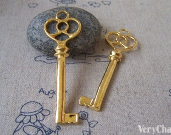 10 pcs of Gold Color Skeleton Key Pendants 20x62mm A4301