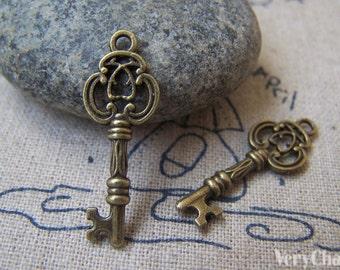 20 pcs of Antique Bronze Filigree Key Charms 10x28mm A2289