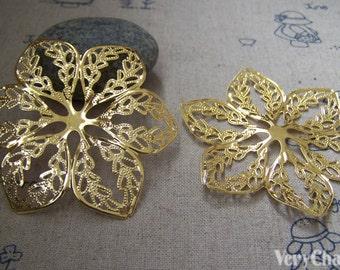 20 pcs of Gold Filigree Huge Flower Embellishments 57mm A2251