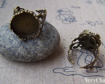 10 pcs Antique Bronze Adjustable Ring Blank Shank Base Crown Edge
