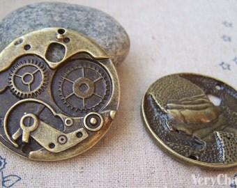 6 pcs of Antique Bronze Mechanical Watch Clock Pendants  37mm A4057