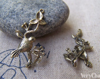 6 pcs of Bronze Plated Brass Bird And Branch Charms 15x30mm A300