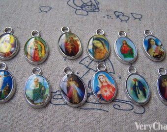 20 pcs of Antique Silver Enamel Jesus Oval Charms Mixed Style A1751