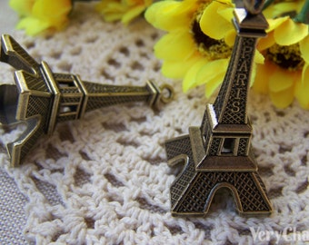 10 pcs of Antique Bronze 3D Paris Eiffel Tower Pendants Huge Size 22x47mm A1651