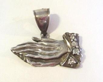 Vintage Sterling silver CZ Prayer Hands Pendant