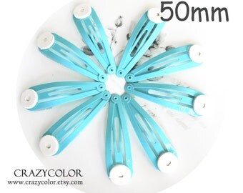 100pcs Bright Aqua Hair Snap Clip With Flat Pad 50mm (2 Inch)  50P21