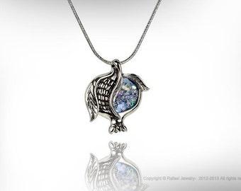 Roman Glass Pomegranate Judaica Pendant Unique Sterling Silver Jewelry