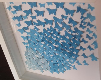 3D artwork/  blue butterflies/3D paper butterflies/ collage/ nursery decor/ wall decor/ gift/ birthday present / personalised / butterflies