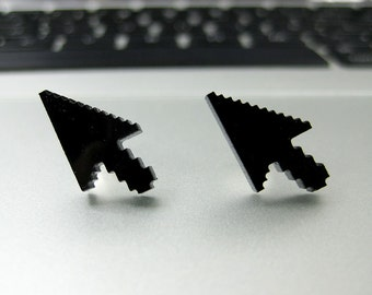 8-bit Computer Mouse Cursor Laser Cut Post Earrings