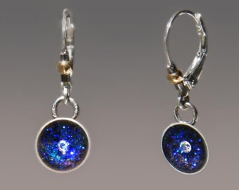 Evening Star Earrings, Tiny Star in Midnight Blue Sky Lever Back Earrings by Jackie Taylor Designs