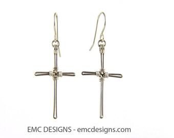 Cross Earrings in Sterling Silver Wire