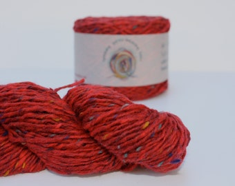 Spinning Yarns Weaving Tales -  Breidin 866 Red 100% Wool Aran weight Yarn for Knitting, Crochet, Felting, Warp & Weft