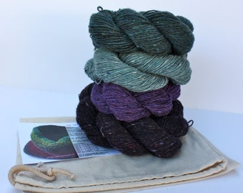 Spinning Yarns Weaving Tales -  Linen Stitch Cowl Knitting Kit - 'Purple Pansies'