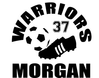 Custom soccer decal with player name and number.  Personalized soccer decal for soccer mom and dad.