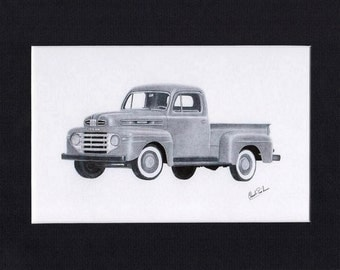 Car art of a pencil drawing of a 1948 to 1950 Mercury pick up
