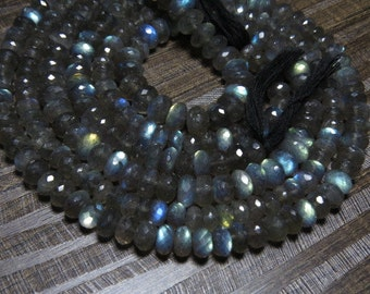 14 ' inches Long - Fully Flashy Fire - LABRADORITE - Micro Faceted Rondell Beads size 6 - 7  mm