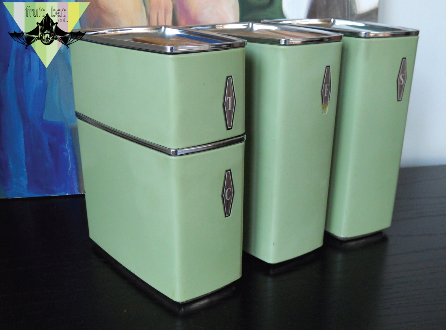 vintage metal kitchen lidded canister set 4 retro baking
