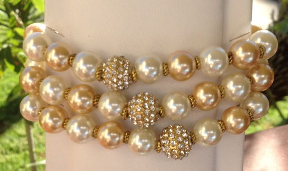 The Fighter Bracelet - gold-tone and clear rhinestone pave bead