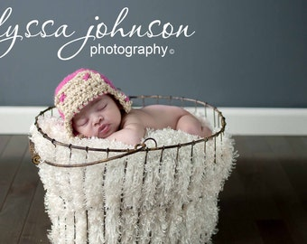 Crocheted Aviator Bomber Hat and Photo Prop