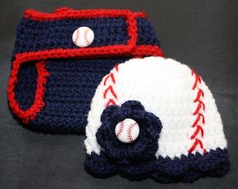 Newborn girl's crochet baseball hat with matching diaper cover