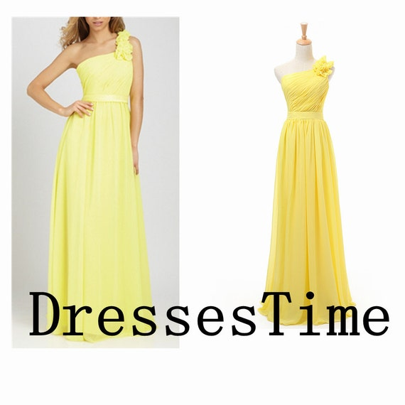 Yellow bridesmaid dresses - long prom dress / yellow chiffon evening gown / simple yellow prom dress / formal bridesmaid dresses in handmade