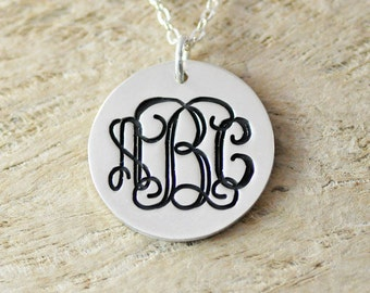 Personalized monogram necklace engraved  initials pendant on disc charm