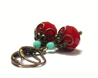 Earrings vintage style bronze