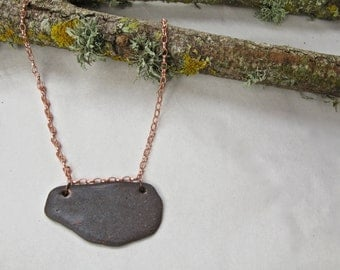 Skipping Stone Necklace - brilliant bright copper chain - adjustable chain lengths - blue czech glass bead end