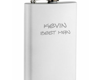 Engraved White Stainless Steel 8oz Hip Flask Personalized Custom Wedding Party Gift Groomsman Groom Best Man Bridesmaid Father's Day