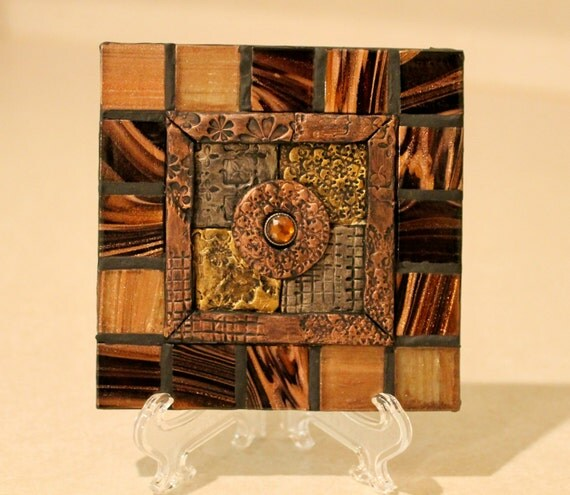 quilted decorative ceramic tile home decor by rebelsplace