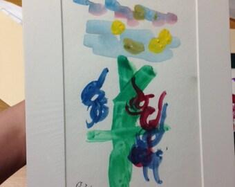 "Watercolor ""Birds in the Spring"""