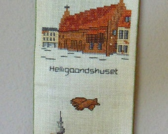 1978 Hand Embroidered Wall Hanging with motifs from Randers, Denmark