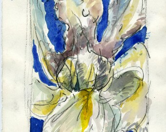 """Original Watercolor on paper: """"Iris"""" 10""""  x 7.5 """""""