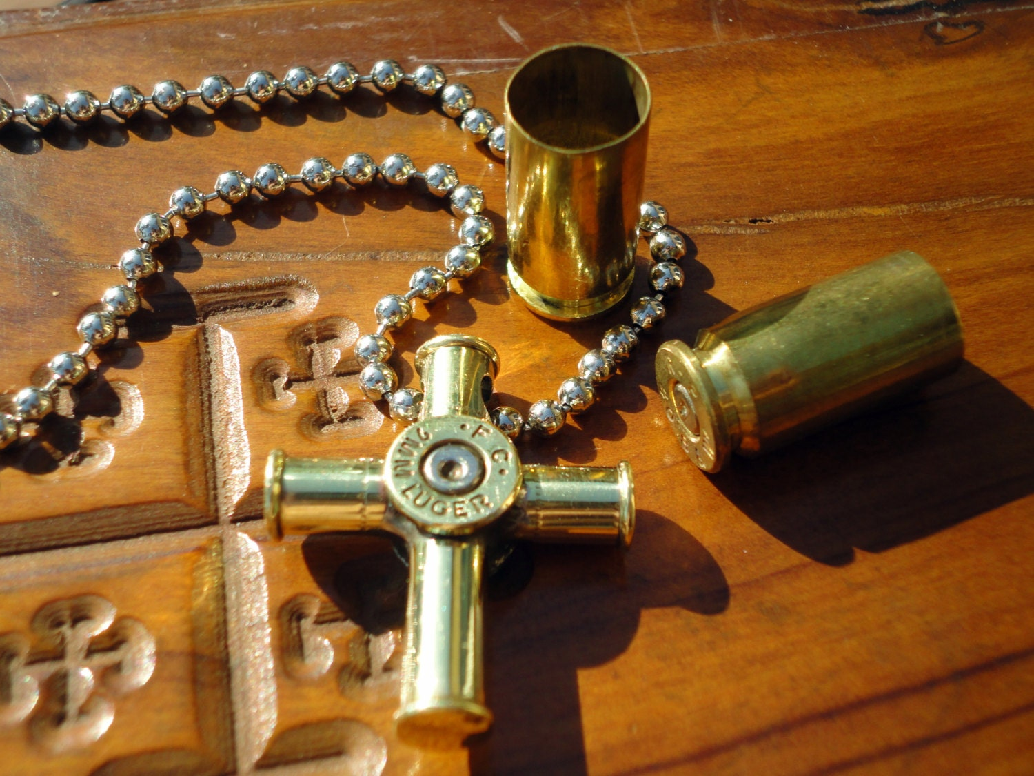 Bullet Casing Cross Pendant Necklace Small