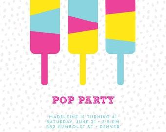 Pop Party Birthday Invitation