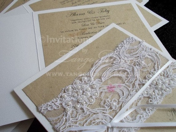 Wedding Invitations Lace And Pearl: Pearl And Lace Wedding Invitations, Rustic Vintage Design