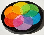 The Color Wheel Puzzle -  Waldorf Toy - Wooden Childrens Puzzle - Color Matching Game - Rainbow Puzzle Wheel